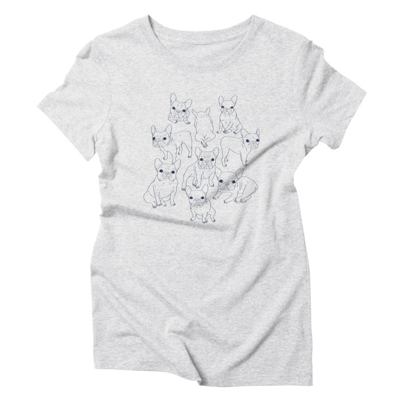 Hand Drawn Cute Frenchies Collage  Women's Triblend T-Shirt by Emotional Frenchies - Cute French Bulldog T-shirts