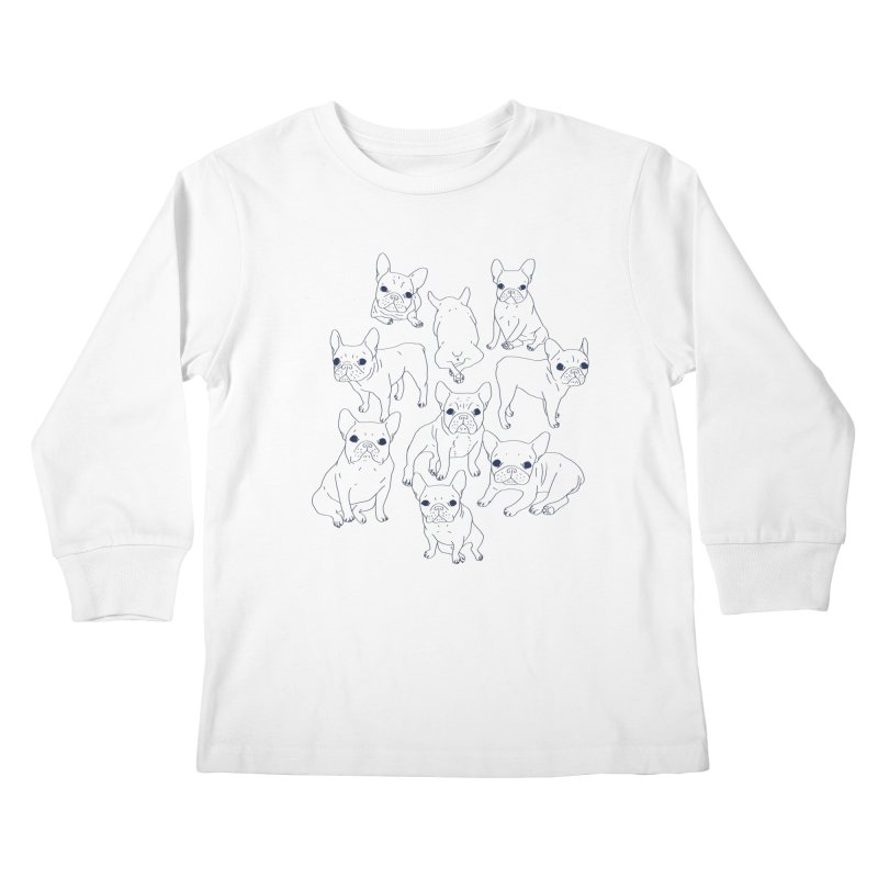 Hand Drawn Cute Frenchies Collage  Kids Longsleeve T-Shirt by Emotional Frenchies - Cute French Bulldog T-shirts