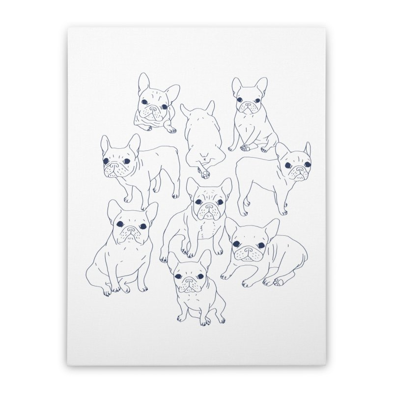 Hand Drawn Cute Frenchies Collage  Home Stretched Canvas by Emotional Frenchies - Cute French Bulldog T-shirts