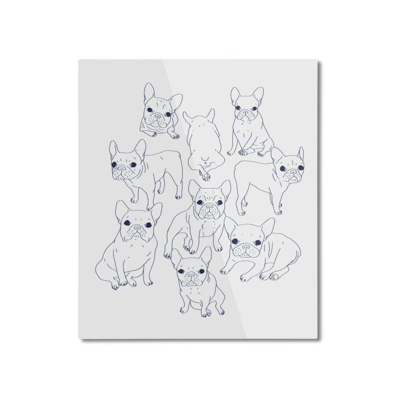 Hand Drawn Cute Frenchies Collage  Home Mounted Aluminum Print by Emotional Frenchies - Cute French Bulldog T-shirts
