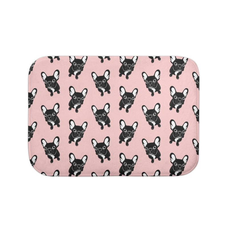 Cute brindle Frenchie is a dreamer  Home Bath Mat by Emotional Frenchies - Cute French Bulldog T-shirts