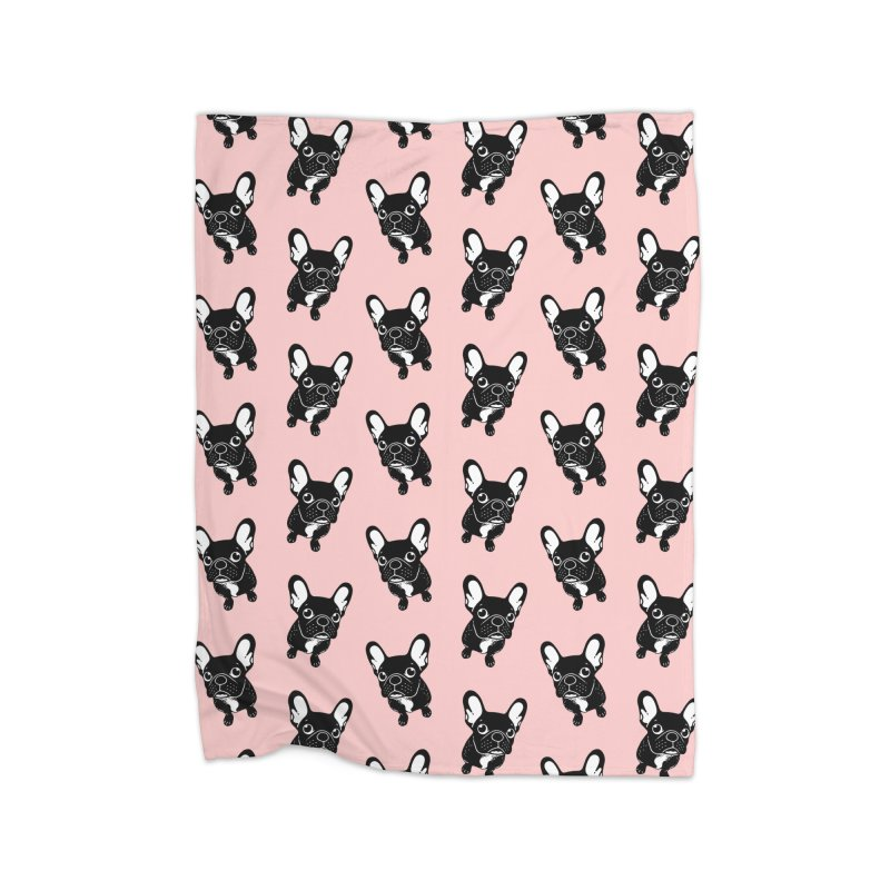 Cute brindle Frenchie is a dreamer  Home Fleece Blanket Blanket by Emotional Frenchies - Cute French Bulldog T-shirts