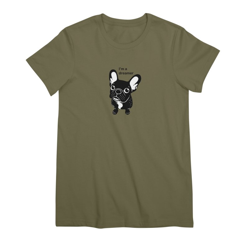 Cute brindle Frenchie is a dreamer  Women's Premium T-Shirt by Emotional Frenchies - Cute French Bulldog T-shirts