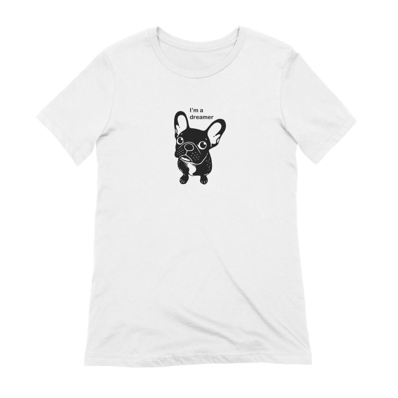 Cute brindle Frenchie is a dreamer  Women's Extra Soft T-Shirt by Emotional Frenchies - Cute French Bulldog T-shirts