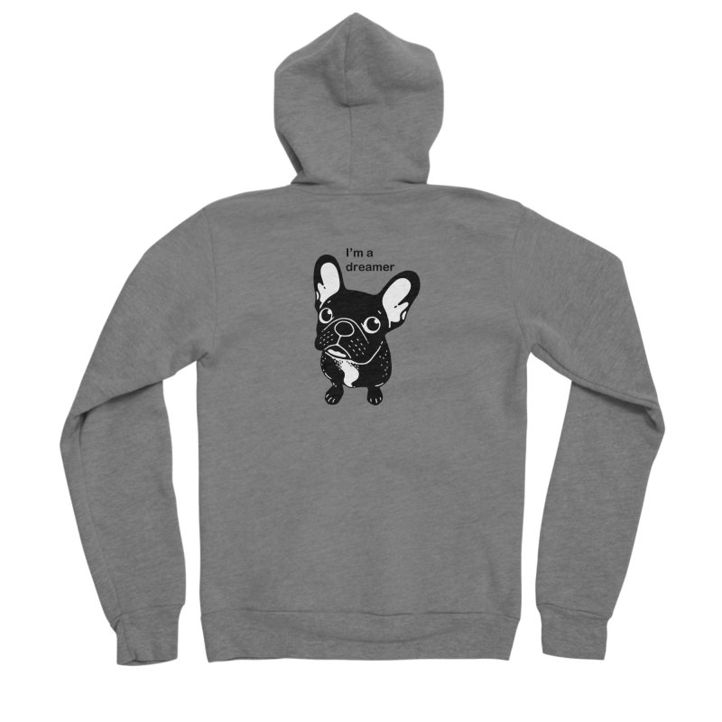 Cute brindle Frenchie is a dreamer  Women's Sponge Fleece Zip-Up Hoody by Emotional Frenchies - Cute French Bulldog T-shirts