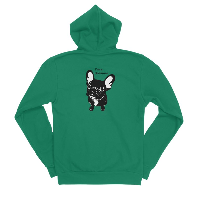 Cute brindle Frenchie is a dreamer  Men's Sponge Fleece Zip-Up Hoody by Emotional Frenchies - Cute French Bulldog T-shirts