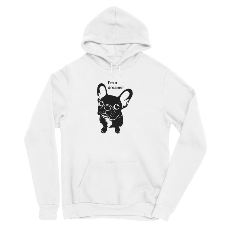 Cute brindle Frenchie is a dreamer  Women's Sponge Fleece Pullover Hoody by Emotional Frenchies - Cute French Bulldog T-shirts