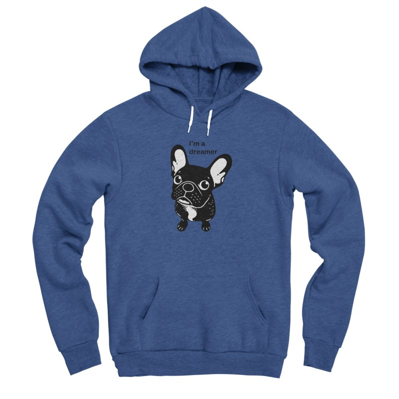 Cute brindle Frenchie is a dreamer  Men's Sponge Fleece Pullover Hoody by Emotional Frenchies - Cute French Bulldog T-shirts