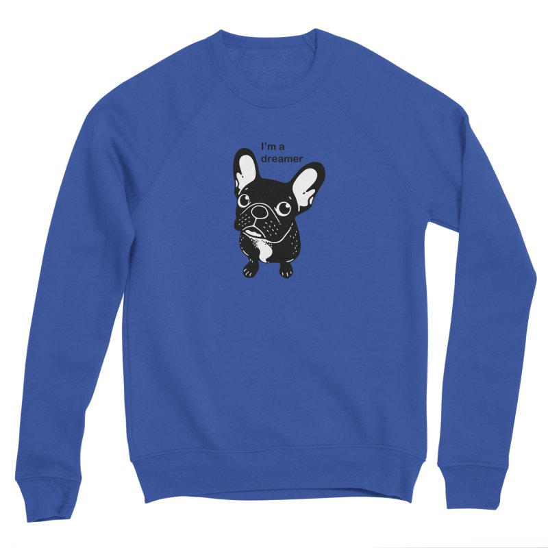 Cute brindle Frenchie is a dreamer  Men's Sponge Fleece Sweatshirt by Emotional Frenchies - Cute French Bulldog T-shirts