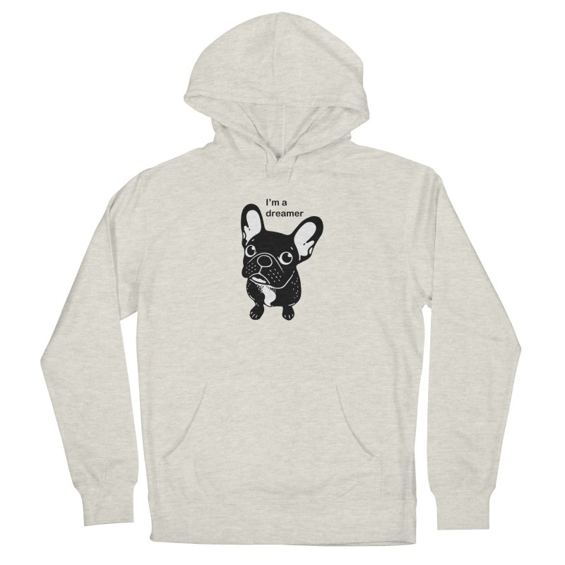 Cute brindle Frenchie is a dreamer  Women's French Terry Pullover Hoody by Emotional Frenchies - Cute French Bulldog T-shirts
