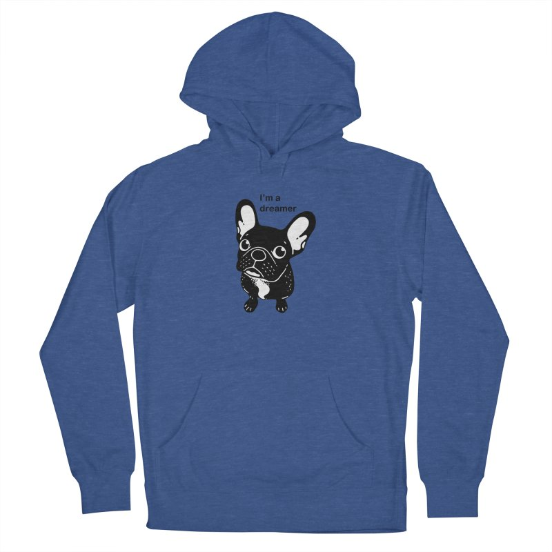 Cute brindle Frenchie is a dreamer  Men's French Terry Pullover Hoody by Emotional Frenchies - Cute French Bulldog T-shirts
