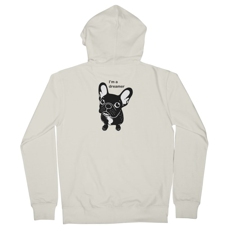 Cute brindle Frenchie is a dreamer  Women's French Terry Zip-Up Hoody by Emotional Frenchies - Cute French Bulldog T-shirts