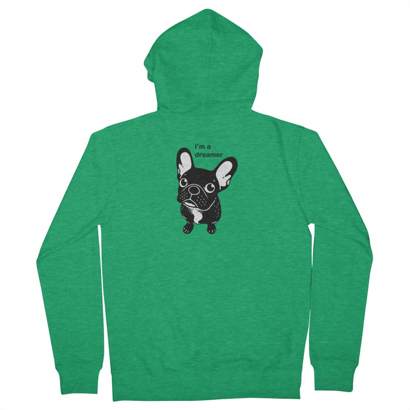 Cute brindle Frenchie is a dreamer  Men's Zip-Up Hoody by Emotional Frenchies - Cute French Bulldog T-shirts
