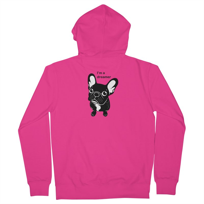 Cute brindle Frenchie is a dreamer  Men's French Terry Zip-Up Hoody by Emotional Frenchies - Cute French Bulldog T-shirts