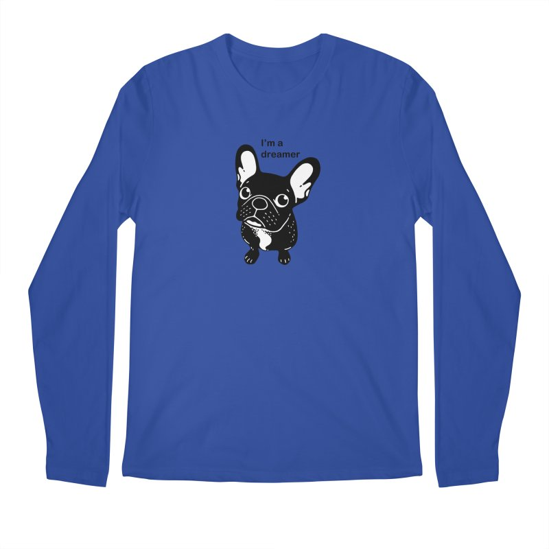 Cute brindle Frenchie is a dreamer  Men's Regular Longsleeve T-Shirt by Emotional Frenchies - Cute French Bulldog T-shirts