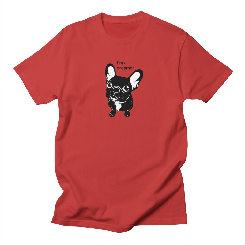Cute brindle Frenchie is a dreamer  Women's Regular Unisex T-Shirt by Emotional Frenchies - Cute French Bulldog T-shirts