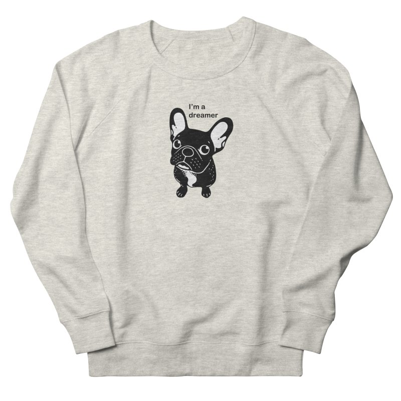 Cute brindle Frenchie is a dreamer  Women's French Terry Sweatshirt by Emotional Frenchies - Cute French Bulldog T-shirts