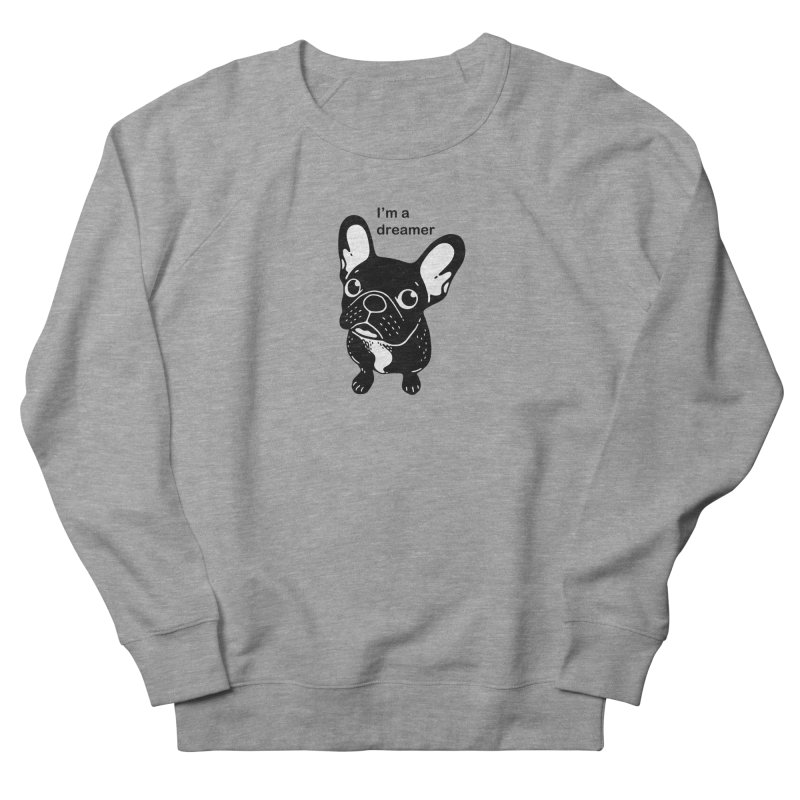 Cute brindle Frenchie is a dreamer  Men's French Terry Sweatshirt by Emotional Frenchies - Cute French Bulldog T-shirts