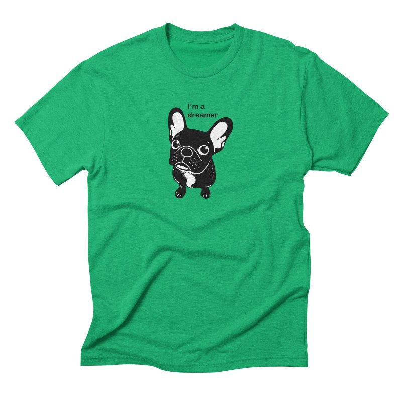 Cute brindle Frenchie is a dreamer  Men's Triblend T-Shirt by Emotional Frenchies - Cute French Bulldog T-shirts