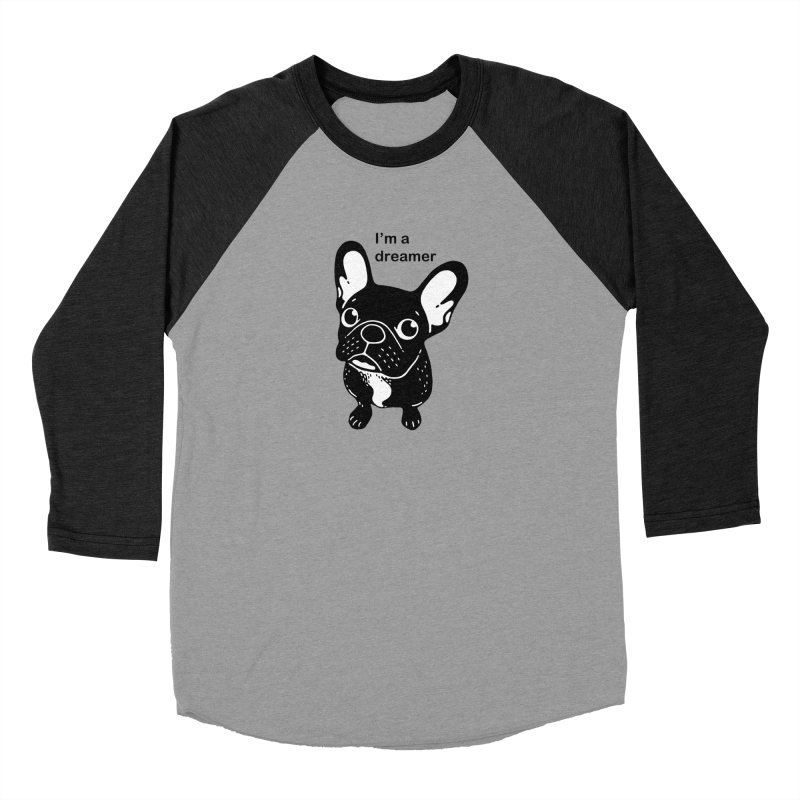 Cute brindle Frenchie is a dreamer  Women's Baseball Triblend Longsleeve T-Shirt by Emotional Frenchies - Cute French Bulldog T-shirts