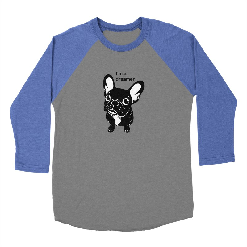 Cute brindle Frenchie is a dreamer  Men's Baseball Triblend Longsleeve T-Shirt by Emotional Frenchies - Cute French Bulldog T-shirts