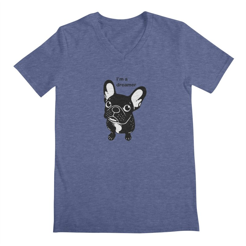 Cute brindle Frenchie is a dreamer  Men's Regular V-Neck by Emotional Frenchies - Cute French Bulldog T-shirts