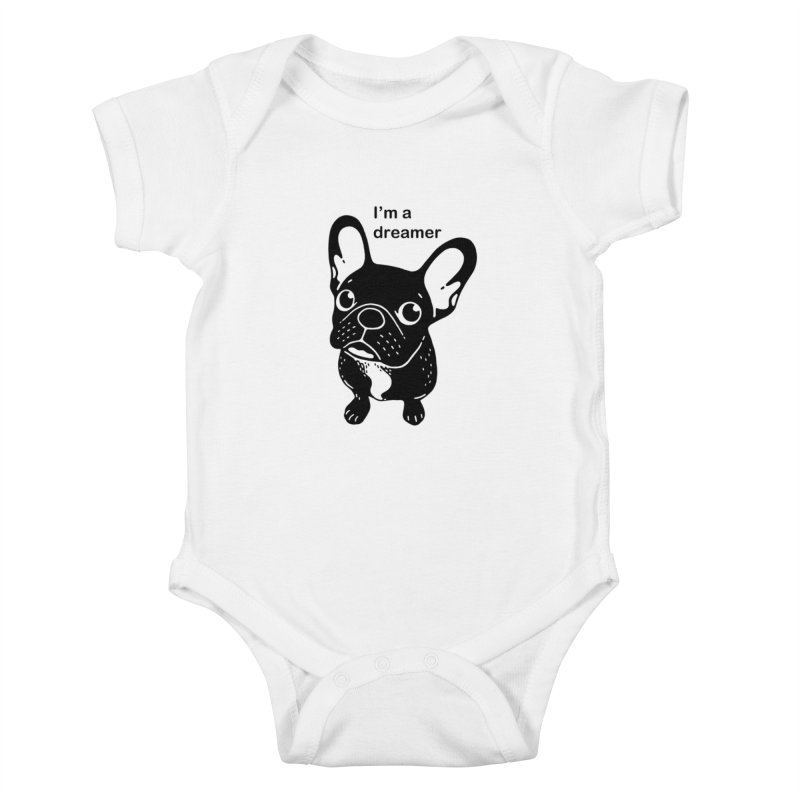 Cute brindle Frenchie is a dreamer  Kids Baby Bodysuit by Emotional Frenchies - Cute French Bulldog T-shirts