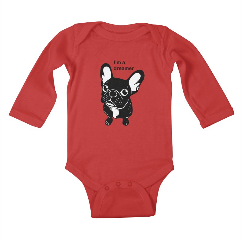 Cute brindle Frenchie is a dreamer  Kids Baby Longsleeve Bodysuit by Emotional Frenchies - Cute French Bulldog T-shirts