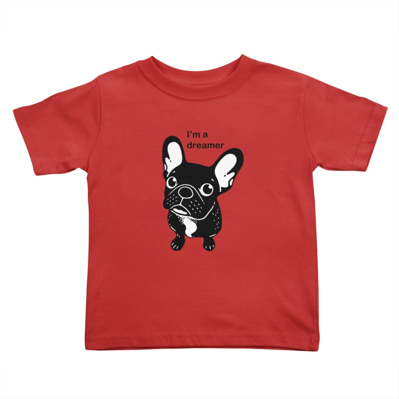 Cute brindle Frenchie is a dreamer  Kids Toddler T-Shirt by Emotional Frenchies - Cute French Bulldog T-shirts