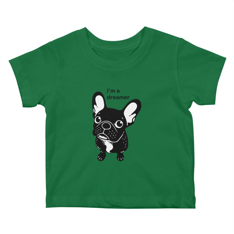 Cute brindle Frenchie is a dreamer  Kids Baby T-Shirt by Emotional Frenchies - Cute French Bulldog T-shirts