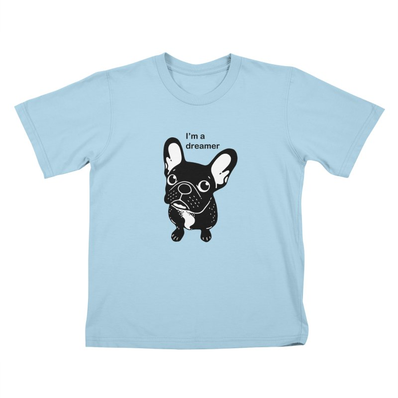 Cute brindle Frenchie is a dreamer  Kids T-Shirt by Emotional Frenchies - Cute French Bulldog T-shirts