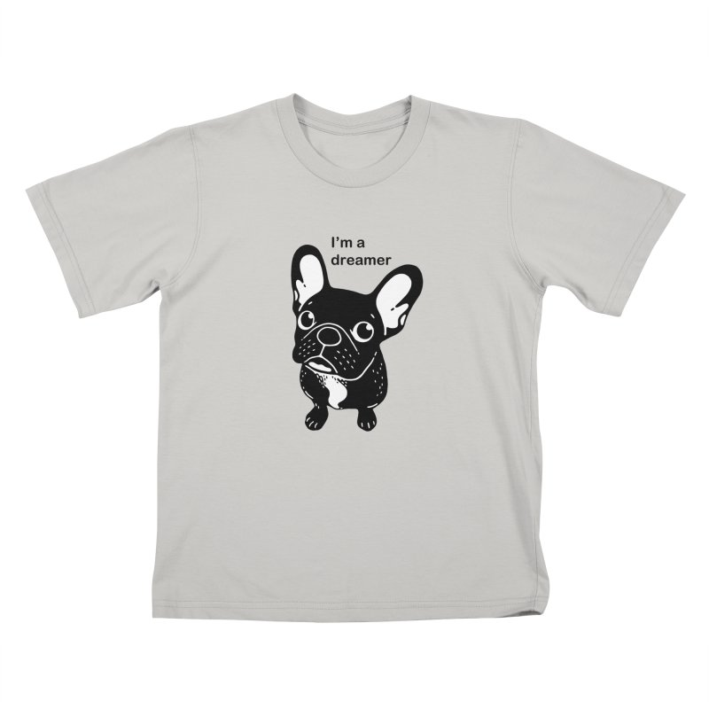 Cute brindle Frenchie is a dreamer  in Kids T-Shirt Stone by Emotional Frenchies - Cute French Bulldog T-shirts
