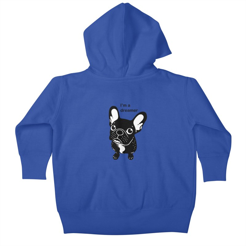Cute brindle Frenchie is a dreamer  Kids Baby Zip-Up Hoody by Emotional Frenchies - Cute French Bulldog T-shirts