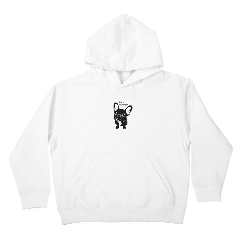 Cute brindle Frenchie is a dreamer  Kids Pullover Hoody by Emotional Frenchies - Cute French Bulldog T-shirts