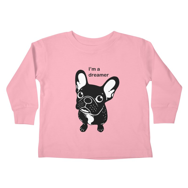 Cute brindle Frenchie is a dreamer  Kids Toddler Longsleeve T-Shirt by Emotional Frenchies - Cute French Bulldog T-shirts
