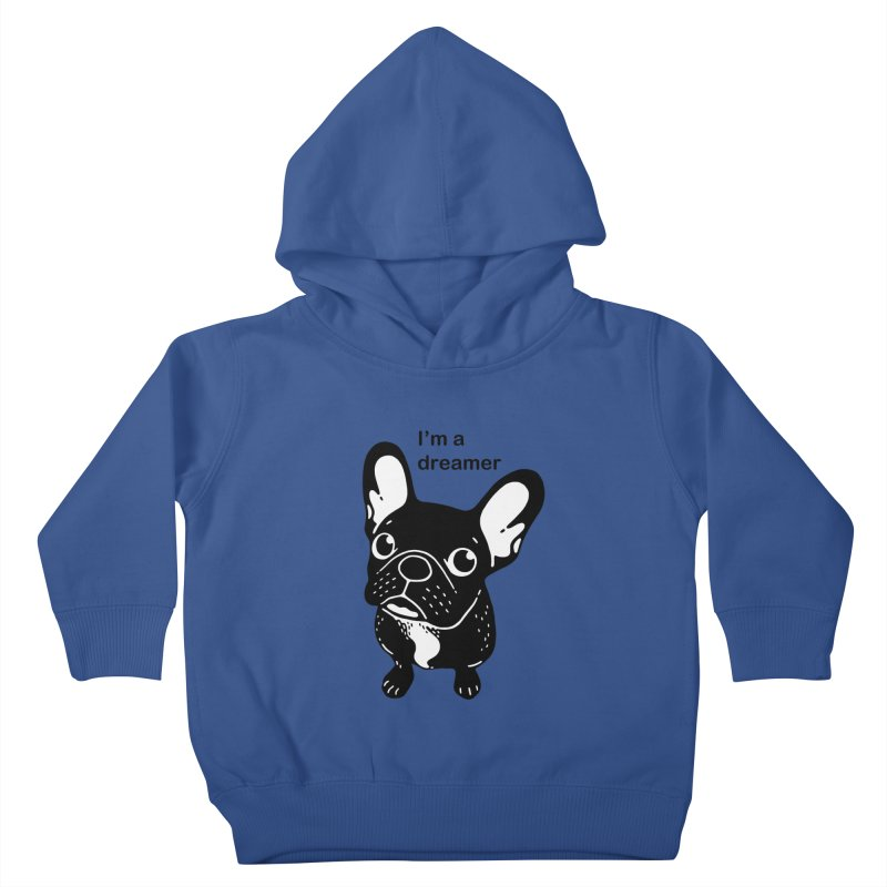 Cute brindle Frenchie is a dreamer  Kids Toddler Pullover Hoody by Emotional Frenchies - Cute French Bulldog T-shirts