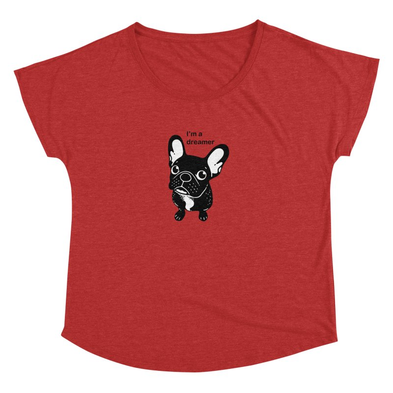 Cute brindle Frenchie is a dreamer  Women's Dolman Scoop Neck by Emotional Frenchies - Cute French Bulldog T-shirts