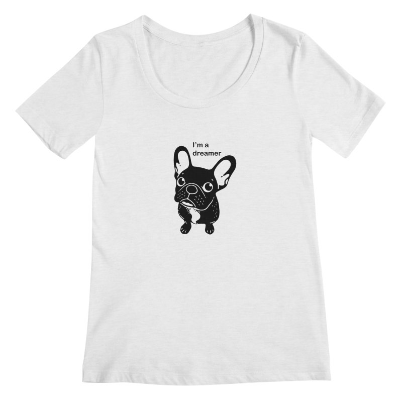 Cute brindle Frenchie is a dreamer  Women's Regular Scoop Neck by Emotional Frenchies - Cute French Bulldog T-shirts
