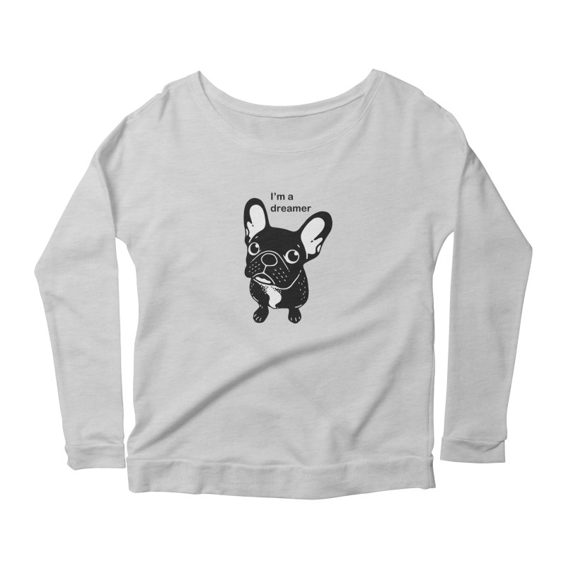 Cute brindle Frenchie is a dreamer  Women's Scoop Neck Longsleeve T-Shirt by Emotional Frenchies - Cute French Bulldog T-shirts