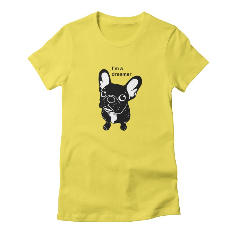 Cute brindle Frenchie is a dreamer  Women's T-Shirt by Emotional Frenchies - Cute French Bulldog T-shirts
