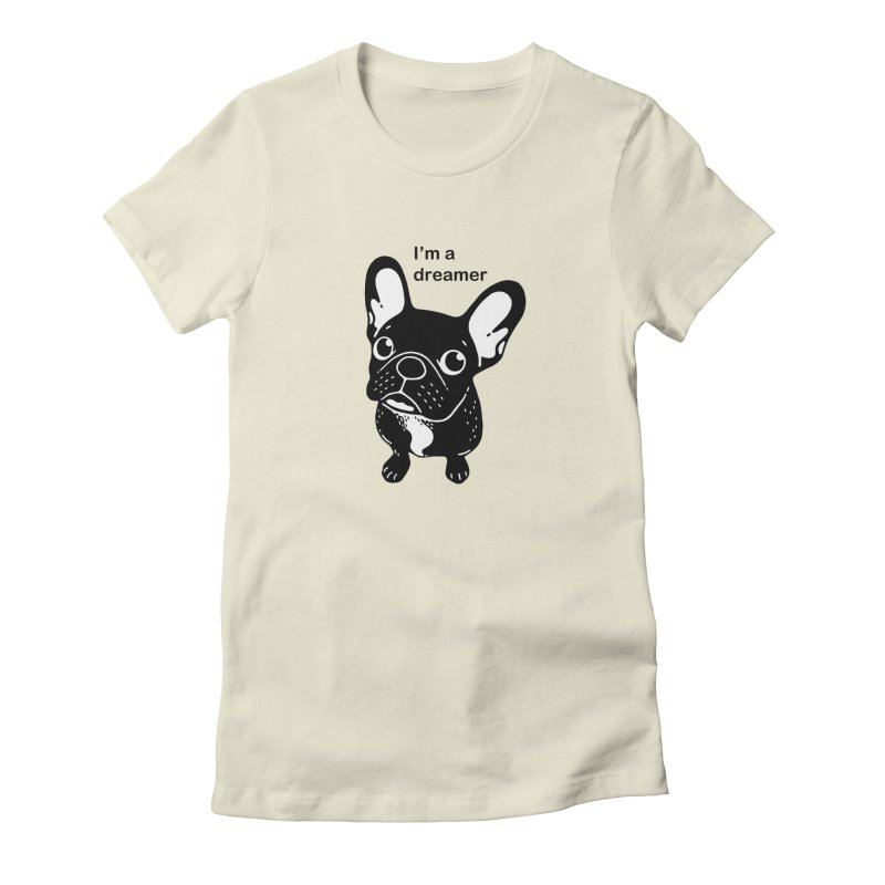 Cute brindle Frenchie is a dreamer  Women's Fitted T-Shirt by Emotional Frenchies - Cute French Bulldog T-shirts