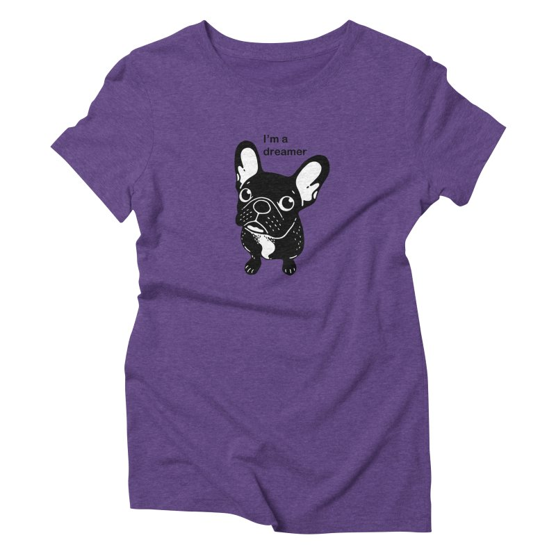 Cute brindle Frenchie is a dreamer  Women's Triblend T-Shirt by Emotional Frenchies - Cute French Bulldog T-shirts
