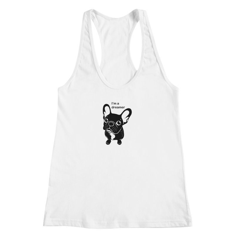 Cute brindle Frenchie is a dreamer  Women's Racerback Tank by Emotional Frenchies - Cute French Bulldog T-shirts