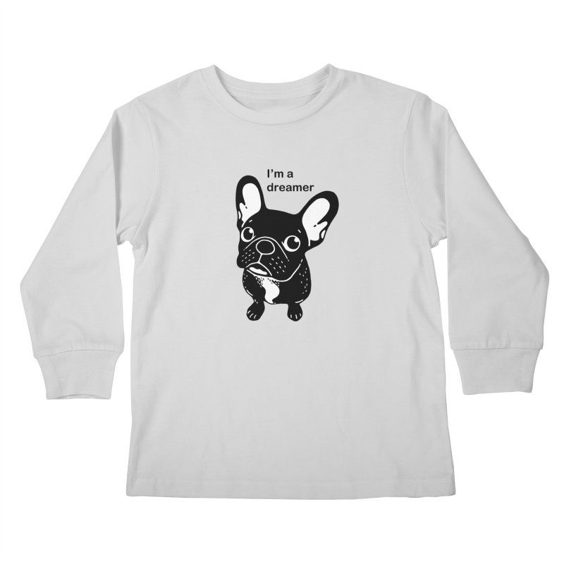 Cute brindle Frenchie is a dreamer  Kids Longsleeve T-Shirt by Emotional Frenchies - Cute French Bulldog T-shirts