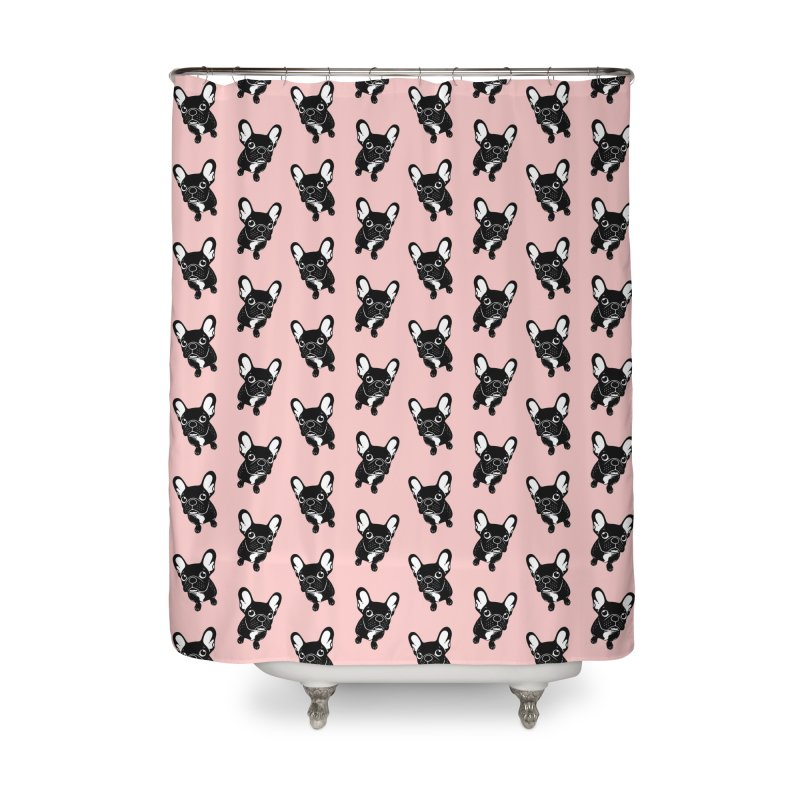 Cute brindle Frenchie is a dreamer  Home Shower Curtain by Emotional Frenchies - Cute French Bulldog T-shirts