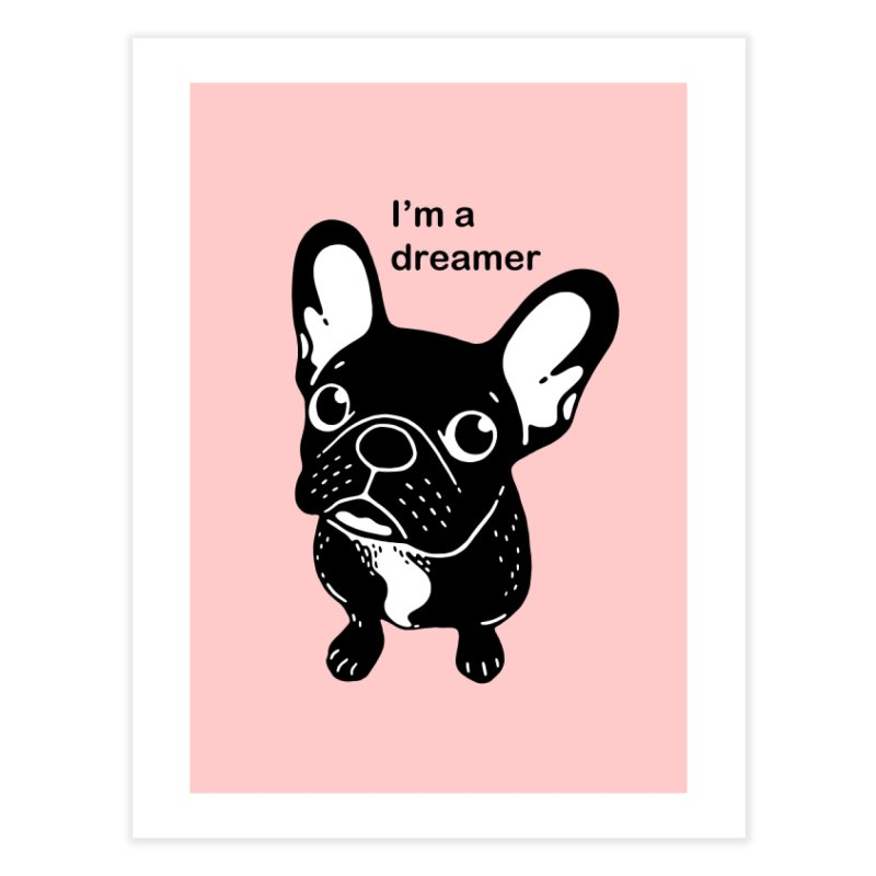 Cute brindle Frenchie is a dreamer  Home Fine Art Print by Emotional Frenchies - Cute French Bulldog T-shirts