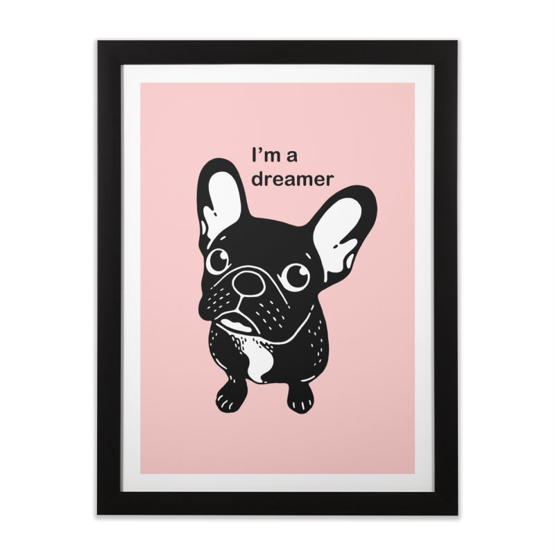 Cute brindle Frenchie is a dreamer  Home Framed Fine Art Print by Emotional Frenchies - Cute French Bulldog T-shirts
