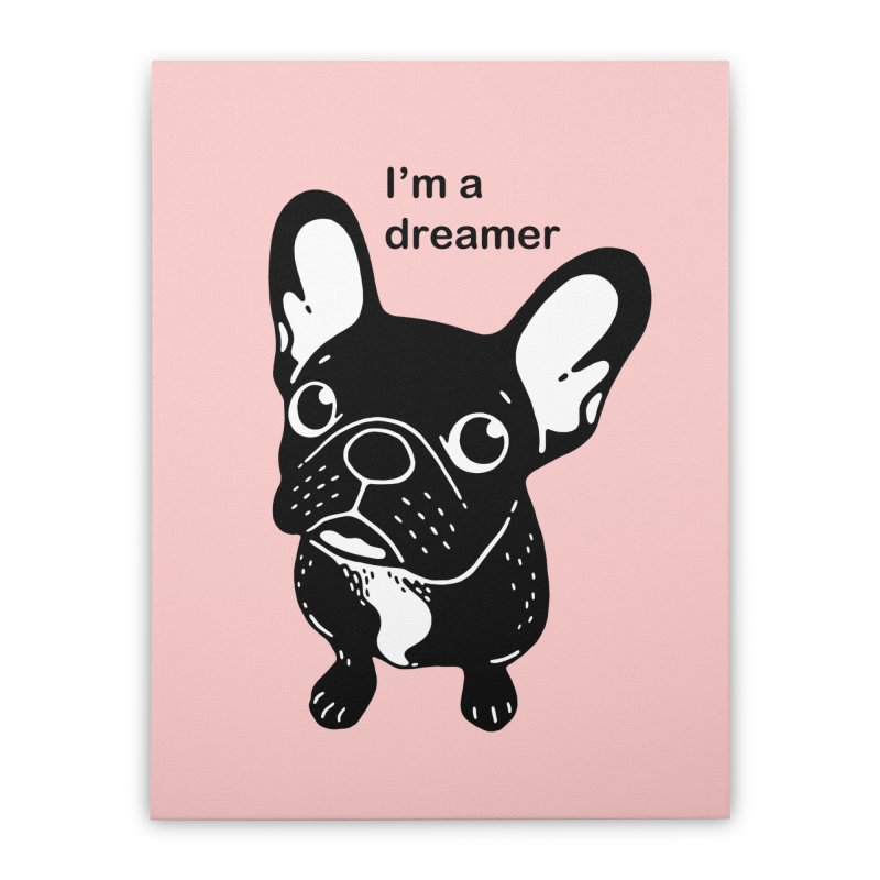 Cute brindle Frenchie is a dreamer  Home Stretched Canvas by Emotional Frenchies - Cute French Bulldog T-shirts