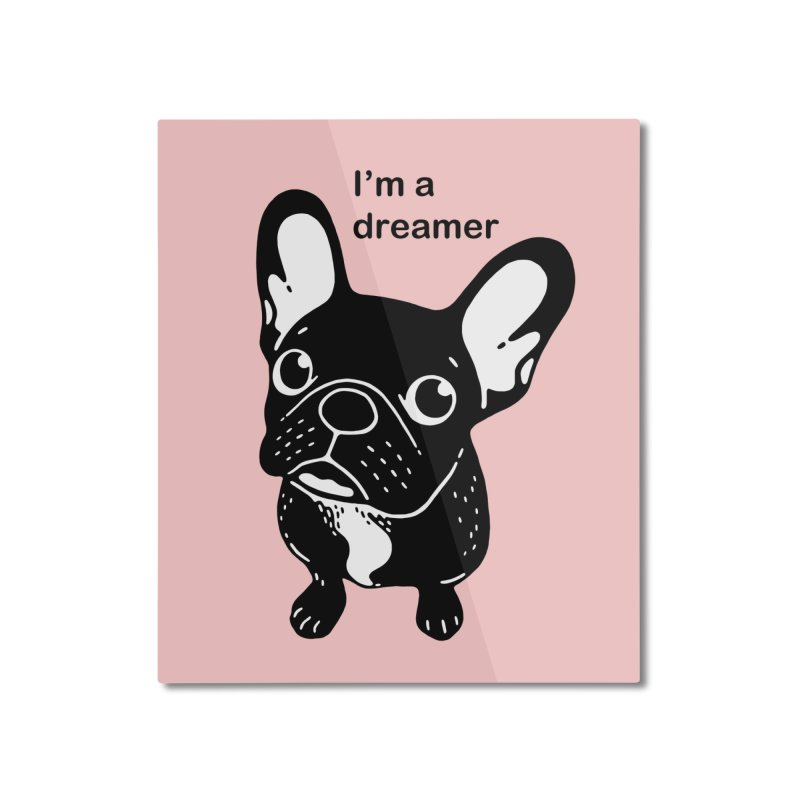 Cute brindle Frenchie is a dreamer  Home Mounted Aluminum Print by Emotional Frenchies - Cute French Bulldog T-shirts