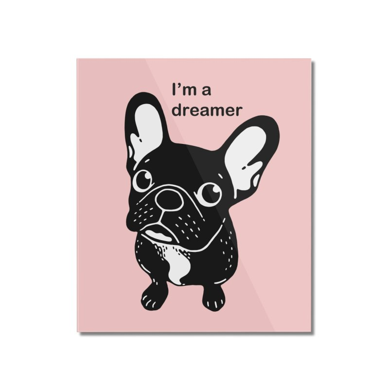 Cute brindle Frenchie is a dreamer  Home Mounted Acrylic Print by Emotional Frenchies - Cute French Bulldog T-shirts